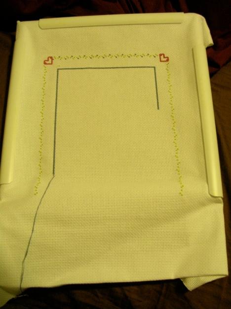 Unfinished cross-stitching