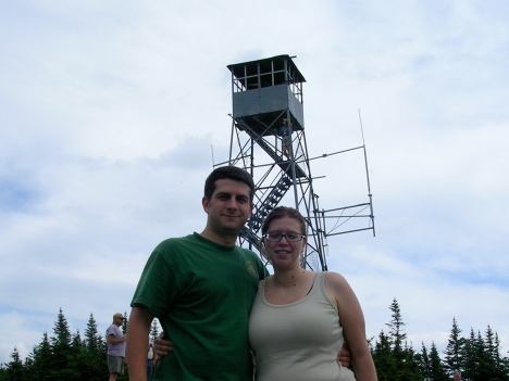 K and I in front of the fire tower on top of Blue Lake Mountain