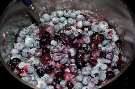 Blueberries and sugar, cooking down